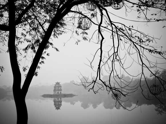 A quiet day at Hoan Kiem Lake in Hanoi